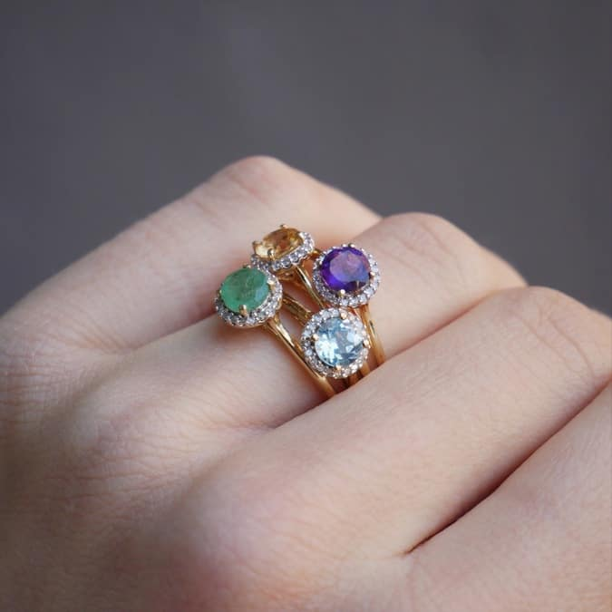 10K Gold Gemstone Diamond Ring