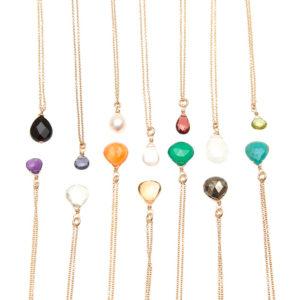 aba6eb80c3ff4 Triple Gemstone Choker Necklace   KTCollection