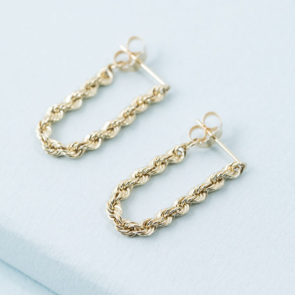 14K Karat Chain Dangles in Gold