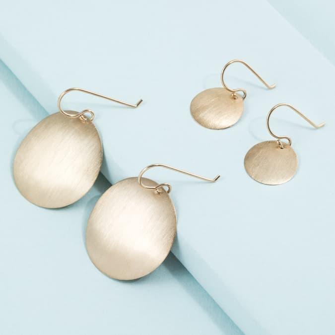 8989f67cf1296d 14K Brushed Matte Disc Earrings – KTCollection
