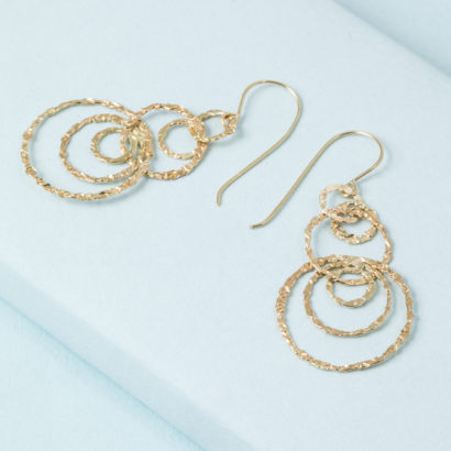 14K solid gold concentric circle earrings from KTCollection