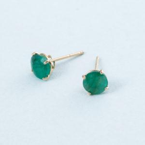 Emerald 14k solid gold stud