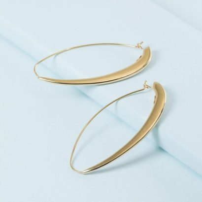 14K Solid oval hoops thick front slim back from KTCollection