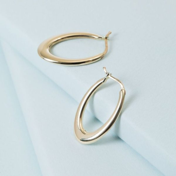 14K Weighed OvalEarrings of KTColllection 14K Solid Gold