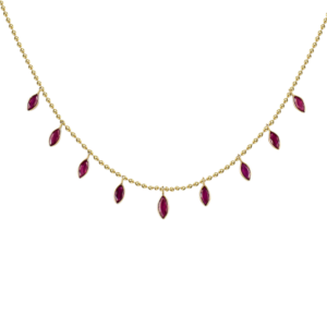 Ruby stones in solid gold necklace