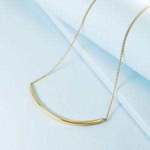 14k Solid Gold Bar Necklace