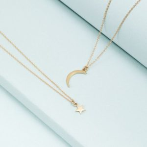 Golden pendant Star and moon necklace 14K