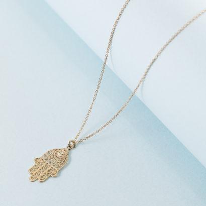 14K jewelry hamsa necklace