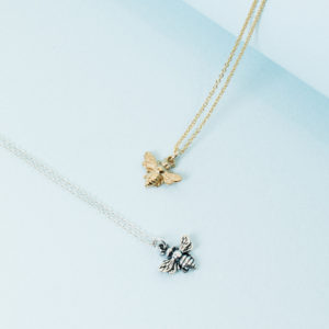 KTCollection handmade jewelry pendants with bee in gold and silver