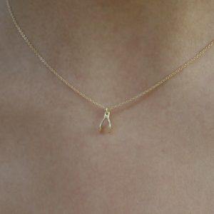 fdd02ec0262d61 Gold 14K necklace wishbone by KTCollection New York handmade jewelry ...