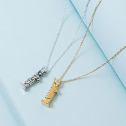 Statute of Liberty Pendant Necklace in silver and gold