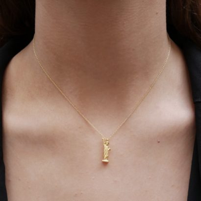 Statute of Liberty in gold necklace by KTCollection NYC Jewelry