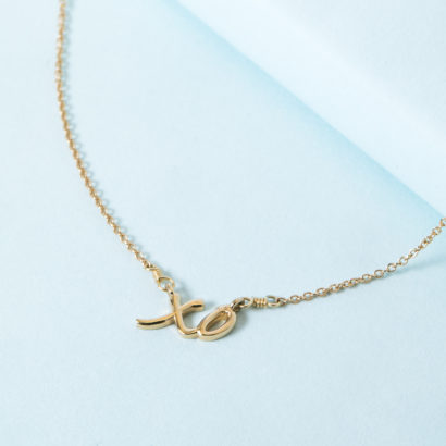 14K Solid Gold XO necklace by KTCollection NYC