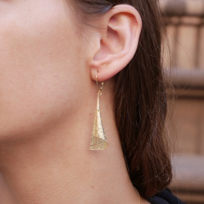 14K Solid Gold Bugle Earring