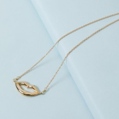 14K Lips necklace solid gold KTCollection jewelry NYC