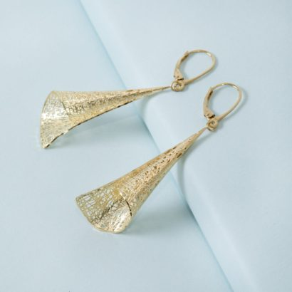 14K Solid gold bugle earring by KTCollection NYC jewelry