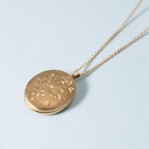 3963089ba0ac1e 14K Flower Locket Gold Necklace
